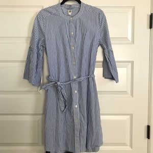 GAP Striped 3/4 Bell Sleeve Tie Waist Shirt Dress